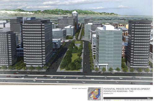A rendering showing potential Draper prison site redevelopment. Courtesy image