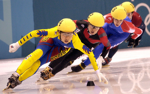 Steve Griffin  |  Tribune file photo Korea's Choi Eun-kyung leads the pack into a turn during the quarterfinals of the women's 1,000 meters short track event at the Salt Lake Ice Center during the 2002 Salt Lake Games.