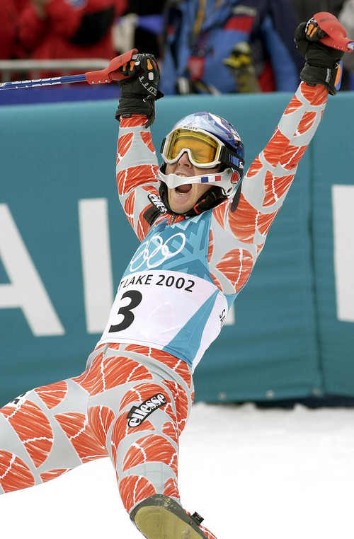 Paul Fraughton  |  Tribune file photo French skier Jean-Pierre Vidal celebrates his men's slalom victory at the finish line at Deer Valley during the 2002 Salt Lake Games.