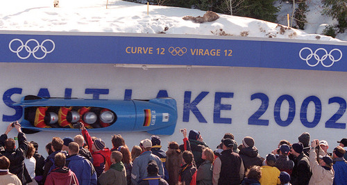 |  Tribune file photo The German team of Andre Lange takes its third run of the four-man bobsled at the Utah Olympic Park during the 2002 Salt Lake Games. Team Germany won the gold medal.