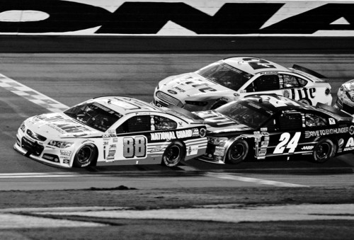 Terry Renna   The Associated Press Dale Earnhardt Jr. (88) gets a push from teammate Jeff Gordon (24) during a restart