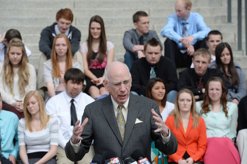 Steve Griffin  |  The Salt Lake Tribune   With students from Canyon View High School in Cedar City behind him former U.S. Sen. Bob Bennett  talks during announcement of the formation of the ìUtah Debate Commission,î an independent and bipartisan group that will plan, host, produce, and televise debates among candidates for statewide and federal office. The event was held on the Utah State Capitol Steps in Salt Lake City, Utah Monday, February 24, 2014.