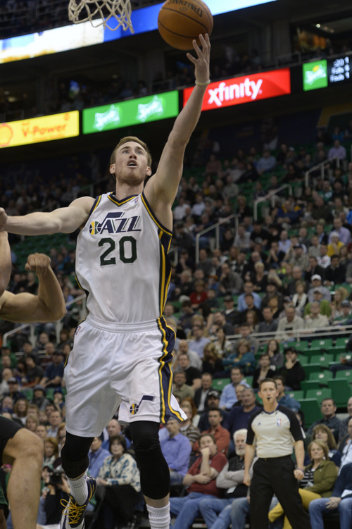 Rick Egan  | The Salt Lake Tribune   Utah Jazz shooting guard Gordon Hayward (20), goes inside for two points, in NBA action, at the EnergySolutions Arena, Monday, February 24, 2014.