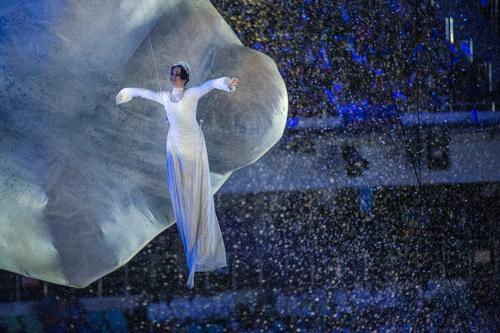 SOCHI, RUSSIA  - JANUARY 23: Dancers perform during the Closing Ceremony of the 2014 Sochi Olympics outside of Fisht Olympic StadiumSunday February 23, 2014.  (Photo by Chris Detrick/The Salt Lake Tribune)