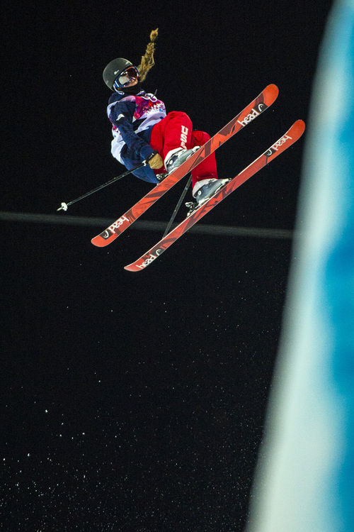 KRASNAYA POLYANA, RUSSIA  - JANUARY 20: Salt Lake City's Maddie Bowman competes in the Ladies' Ski Halfpipe at Rosa Khutor Extreme Park during the 2014 Sochi Olympics Thursday February 20, 2014. Bowman won the gold medal with a score of 89.0. (Photo by Chris Detrick/The Salt Lake Tribune)