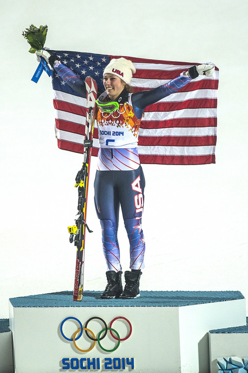 KRASNAYA POLYANA, RUSSIA  - JANUARY 21: Mikaela Shiffrin, of Eagle-Vail, Colo., celebrates after winning the women's slalom competition at Rosa Khutor Alpine Center during the 2014 Sochi Olympics Friday February 21, 2014. Shiffrin won the gold medal with a total time of 1:44.54.  (Photo by Chris Detrick/The Salt Lake Tribune)