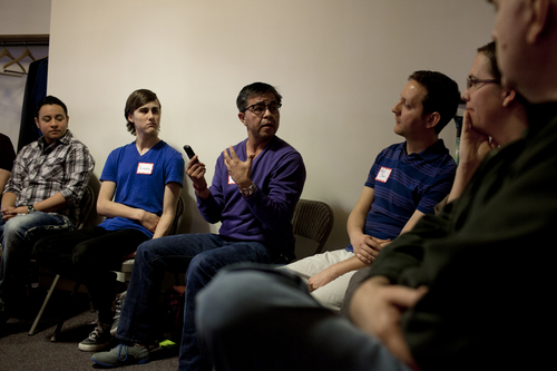 Jim McAuley | The Salt Lake Tribune Kai Martinez, center, discusses issues in the transgender community with Alex Florence, from far left, Lincoln Parkin, David Jones, Brianne Blanchard, and Lauren Ball during the Transgender 101 workshop at the 22nd Circling the Wagons conference, a conference designed to build understanding between LGBT Mormons and members of the LDS Church, at Wasatch Presbyterian Church on Saturday, February 22, 2014.