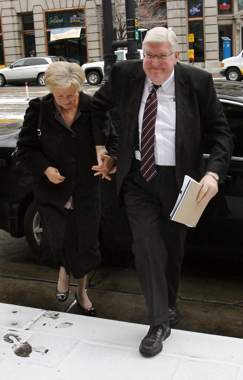 Tribune file photo  Dewey C. MacKay, right, walks into the Frank E. Moss U.S. Courthouse in Salt Lake City with his wife, Kathleen MacKay,  for a recent hearing. MacKay received a 20-year sentence for a conviction on charges related to prescribing more than 1.9 million hydrocodone pills and nearly 1.6 million oxycodone pills between June 1, 2005, and Oct. 30, 2009.
