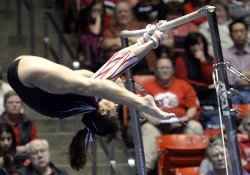 Rick Egan  | The Salt Lake Tribune   Nansy Damianova performs on the bars for the Utes, in gymnastics action, Utah vs. Oregon State, at the Huntsman Center, Saturday, February 22, 2014.