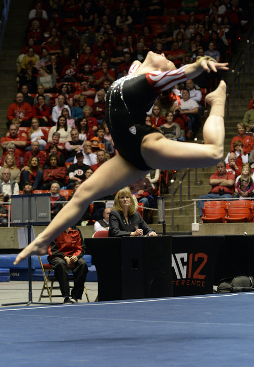 Rick Egan  | The Salt Lake Tribune   Becky Tutka performs on the floor for the Utes, in gymnastics action, Utah vs. Oregon State, at the Huntsman Center, Saturday, February 22, 2014.