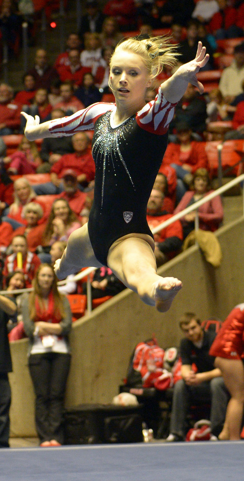 Rick Egan  | The Salt Lake Tribune   Georgia Dabritz performs on the floor for the Utes, in gymnastics action, Utah vs. Oregon State, at the Huntsman Center, Saturday, February 22, 2014.