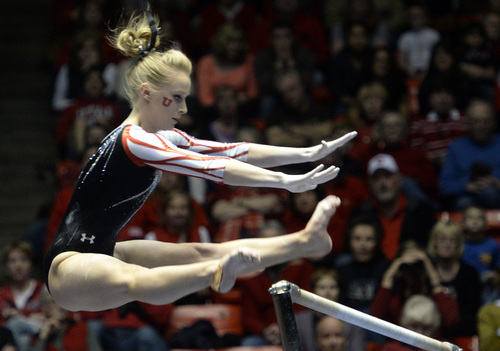 Rick Egan  | The Salt Lake Tribune   Georgia Dabritz performs on the bars for the Utes, in gymnastics action, Utah vs. Oregon State, at the Huntsman Center, Saturday, February 22, 2014.