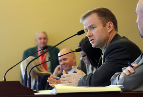 Francisco Kjolseth  |  The Salt Lake Tribune Johnny Anderson, R-Taylorsville, sponsor of HB327 that would have let bicycles, mopeds and motorcycles to run red lights legally in some cases was downed in the Transportation Committee in a 6-5 vote during the legislative session on Thursday, February 23, 2012.