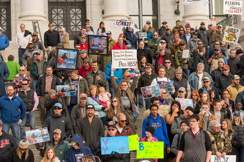 Trent Nelson     The Salt Lake Tribune Anglers gather on the south steps of the Capitol in support of Rep. Dixon Pitcher's HB37, which would restore open access to Utah's waterways, Tuesday February 11, 2014 in Salt Lake City.