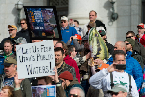 Trent Nelson     The Salt Lake Tribune Anglers gather on the south steps of the Capitol in support of open access to Utah's waterways and Dixon Pitcher's HB37 on Tuesday in Salt Lake City.