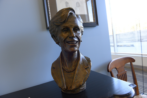 Scott Sommerdorf   |  The Salt Lake Tribune A bust of Beverley Taylor Sorenson inside the brainstorming conference room dedicated to her at the new $37.5 million Beverley Taylor Sorenson Arts and Education Complex at the University of Utah, Wednesday, Feb. 26, 2014.