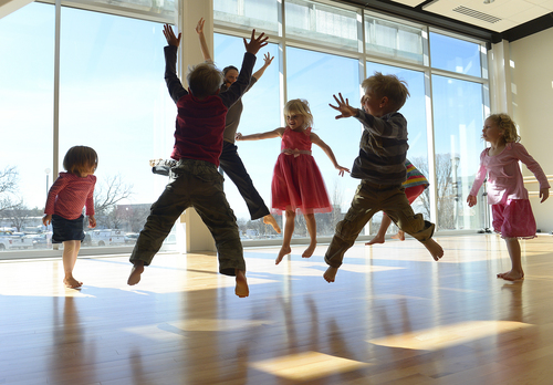 Scott Sommerdorf   |  The Salt Lake Tribune Dance Specialist Shannon Stead leads children through an exercise at the new $37.5 million Beverley Taylor Sorenson Arts and Education Complex at the University of Utah, Wednesday, Feb. 26, 2014.