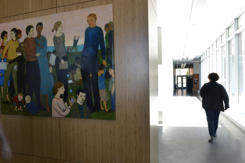 "Scott Sommerdorf   |  The Salt Lake Tribune A painting entitled ""Valley of Decision"" by Brian Kershisnik greets visitors as they enter the new $37.5 million Beverley Taylor Sorenson Arts and Education Complex at the University of Utah, Wednesday, Feb. 26, 2014."
