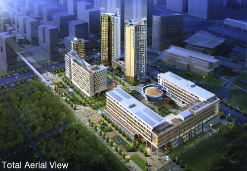 | Courtesy Rendering of Total Aerial View of  Songdo University.