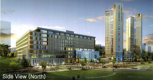 | Courtesy Rendering of Side View (North) of  Songdo University.