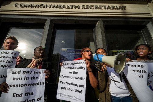 Gay rights protesters demonstrate in London in November against increasingly discriminatory laws around the world aimed at the LGBT community.  (Getty Images)