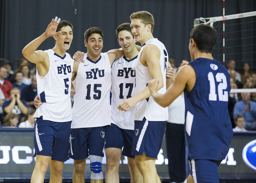 14mVLB vs Pacific 219  BYU Men's Volleyball Team beat Pacific University  BYU - 3 PAC - 0  January 25, 2014  Photo by Bella Torgerson McLaws  © BYU PHOTO 2014 All Rights Reserved photo@byu.edu   (801)422-7322