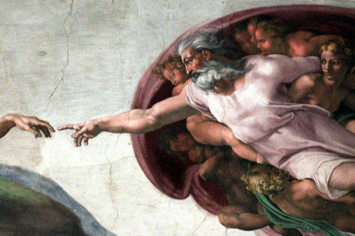 """The Creaation"" by Michelangelo on the ceiling of the Vatican's Sistine Chapel -- shown here in 1999 -- depicts God creating Adam. (AP Photo/Plinio Lepri)"
