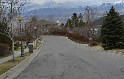 Scott Sommerdorf   |  The Salt Lake Tribune Looking south on Capitol Park Avenue. The Capitol Park Homeowner's Association wants to deed its streets to Salt Lake City so that the municipality will take over maintenance and snow removal, Thursday, Feb. 27, 2014.