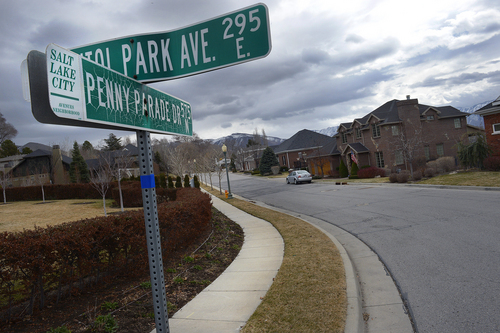 Scott Sommerdorf   |  The Salt Lake Tribune On Capitol Park Avenue and Penny Parade Drive in Capitol Park. The Capitol Park Homeowner's Association wants to deed its streets to Salt Lake City so that the municipality will take over maintenance and snow removal.