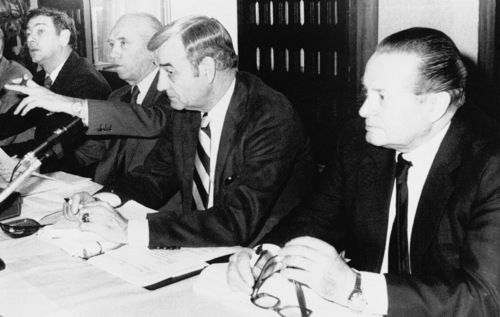 From left, Belgian representative to the International Olympic Committee (IOC), Prince Alexandre de Merode, President of the Belgian Olympic Committee Raoul Mollet, General Secretary of the U.S. Olympic Committee Col. F. Don Miller, and President of the West German Olympic Committee Willi Daume, during a meeting, March 22, 1980 in Brussels, of officials from 18 Western European Olympic committees to discuss a possible boycott of the Olympic games in Moscow. (AP Photo)