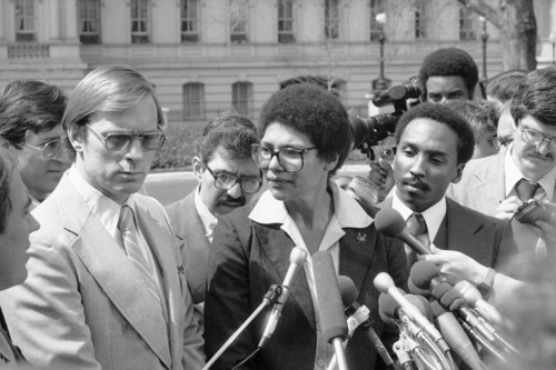 Anita DeFrantz, spokeswoman for the U.S. Olympic Committee's Athletes Advisory Council, answers questions for reporters outside the White House in Washington, April 4, 1980. DeFrants, of Princeton, N.J., said White House officials rejected a proposal that would have allowed American athletes to compete at the summer Olympic Games in Moscow. (AP Photo)