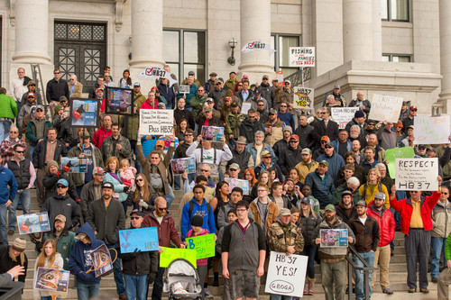Trent Nelson  |  The Salt Lake Tribune Anglers gather on the south steps of the Capitol in Salt Lake City on Tuesday in support of Rep. Dixon Pitcher's HB37, which would restore open access to Utah's waterways.