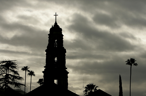 The bell tower at First Congregational Church in downtown Riverside, Calif. is silhouetted against cloudy skies on Saturday, March 1, 2014. A powerful Pacific storm hit the state early Saturday, but did not put a major dent in a drought that is among the worst in recent California history. (AP Photo/The Press-Enterprise, Stan Lim) MANDATORY CREDIT: THE PRESS-ENTERPRISE, STAN LIM