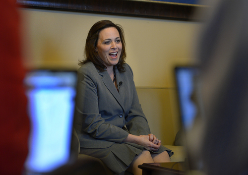 Scott Sommerdorf   |  The Salt Lake Tribune Speaker of the House Becky Lockhart, R-Provo, framed by reporters' computers, answers questions during her afternoon availability, Thursday, Jan. 30, 2014.