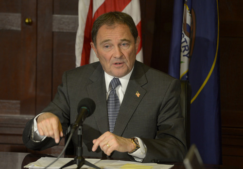 Leah Hogsten  |  The Salt Lake Tribune Utah Governor Gary Herbert addresses the media Tuesday, February 25, 2014 with his concerns about the state's budget, education, air quality and the state prison's relocation.