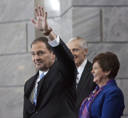 Steve Griffin | The Salt Lake Tribune   Utah Gov. Gary Herbert and first lady Jeanette Herbert are applauded as the take the stage at the start of Herbert's inauguration ceremony as Utah's 17th governor at the Utah State Capitol in Salt Lake City, Utah Monday January 7, 2013.