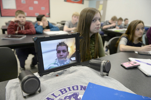 "Francisco Kjolseth  |  The Salt Lake Tribune They call him the ""iStudent."" Andrew Gardner, 12, nearly drowned on a rafting trip three summers ago, permanently damaging his lungs. To escape Utah's winter pollution the 7th-grader takes temporary refuge in Arizona. His science teacher videoconferences him into classroom discussions."