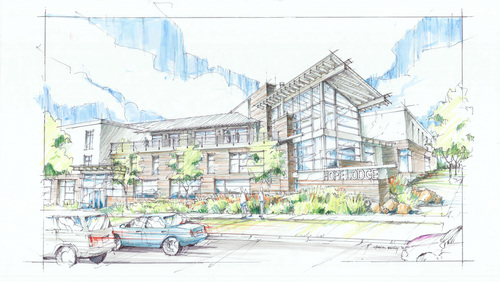 Renderings of the Hope Lodge that will be built by R&O Construction  for the American Cancer Society. The society hopes to open the lodge for cancer patients who travel to Salt Lake City for care in the summer of 2015.  Courtesy image
