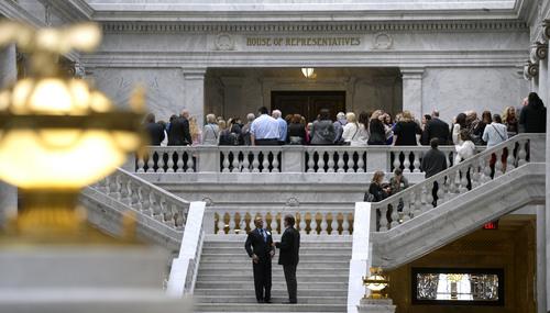 Al Hartmann  |  The Salt Lake Tribune  Citizens and lobbyists waiting to bend the ear of their legislators crowd the entranceway to the Utah House of Representatives Thursday February 13.