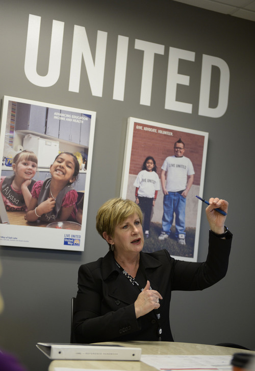 Francisco Kjolseth  |  The Salt Lake Tribune Deborah Bayle, CEO of United Way, leads a senior management meeting on Monday, March 3, 2014. A Utah Valley University study looks at the number of women in leadership positions for non-profit companies.