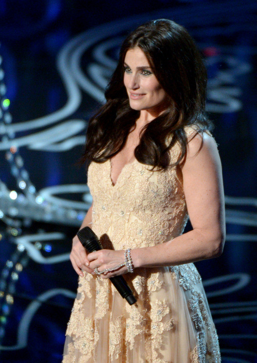 Idina Menzel performs on stage during the Oscars at the Dolby Theatre on Sunday, March 2, 2014, in Los Angeles.  (Photo by John Shearer/Invision/AP)