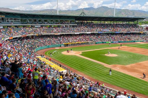 Trent Nelson  |  The Salt Lake Tribune The Salt Lake Bees take on the Memphis Redbirds, AAA baseball at SpringMobile Ballpark in Salt Lake City Tuesday May 21, 2013.