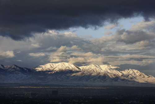 Scott Sommerdorf  |  The Salt Lake Tribune Utahns could breathe fresh air and finally see the mountains that ring Salt Lake City Sunday morning,  January 27, 2013. But by early afternoon, a new snowstorm had arrived on the Wasatch Front.