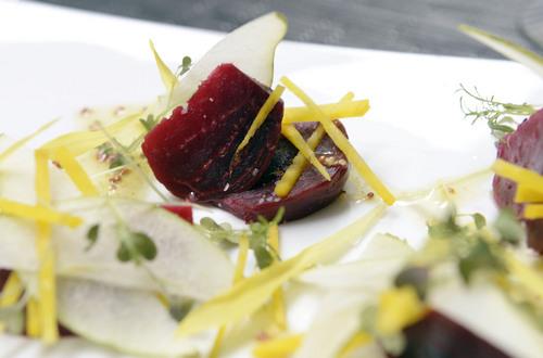 Al Hartmann  |  The Salt Lake Tribune  Beet, Pear and Goat Cheese salad with whole grain mustard vinaigrette at Bistro 222.