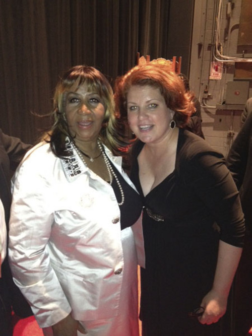 A selfie from Klea Blackhurst with singer Aretha Franklin when the singers shared a bill at a recent tribute concert to composer Marvin Hamlisch. (Courtesy photo)