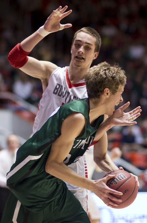 Lennie Mahler  |  The Salt Lake Tribune Olympus' Alec Monson is fouled by Bountiful's Jeff Pollard in the first half of a semi-final game at the Huntsman Center, Friday, March 7, 2014.