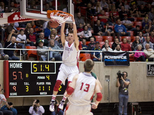 Lennie Mahler  |  The Salt Lake Tribune Bountiful's Zac Seljaas dunks in the second half of a semi-final game against Olympus at the Huntsman Center, Friday, March 7, 2014.