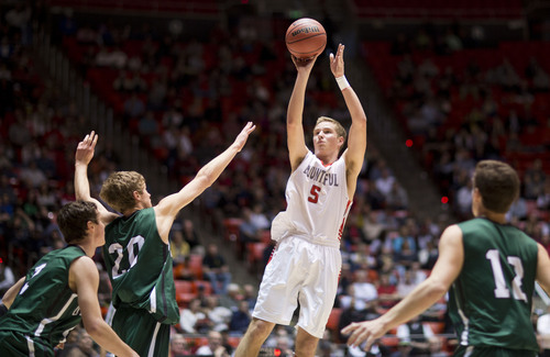 Lennie Mahler  |  The Salt Lake Tribune Bountiful's Sam Merill shoots over Olympus' Alec Monson in the first half of a semi-final game at the Huntsman Center, Friday, March 7, 2014.