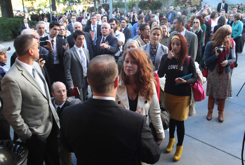 Rick Egan  |   Tribune file photo   One by one, members of the group Ordain Women, are turned away, as they attempted to stand in the standby line to try to gain admittance to the Priesthood session of the 183rd Semi-annual General Conference, Saturday, October 5, 2013.