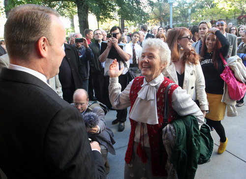 Rick Egan      Tribune file photo    Doug Peterson refuses to let Nadine Hansen (right) into the standby line on the Tabernacle, as Hansen and the group,  Ordain Women try to gain admittance to the Priesthood session of the 183rd Semi-annual General Conference, Saturday, October 5, 2013.